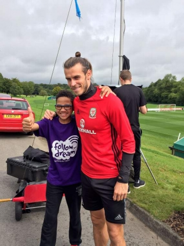 Curtis Follow Your Dreams Charity with Gareth Bale